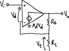 Operational amplifier with non-ideal differential gain.png