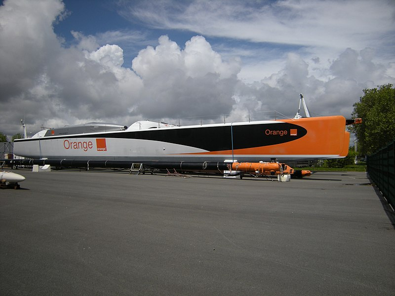 The catamaran sailboat Orange II in Vannes, France.