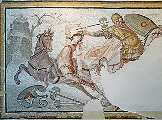 Hippeis - Roman mosaic depicting hippeus in combat with Amazon, 4th century AD (Louvre)