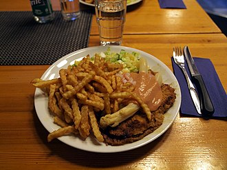 Schnitzel - Oskarinleike with fries.