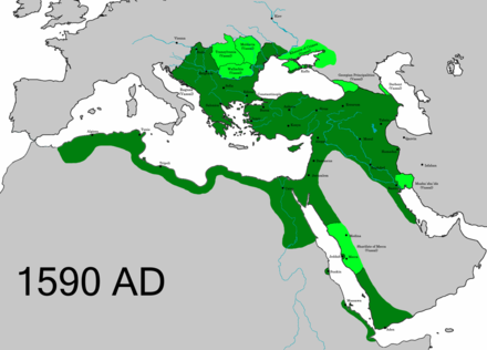 Vassal and tributary states of the Ottoman Empire in 1590 OttomanEmpire1590.png