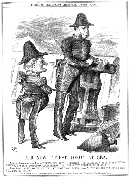 "W. H. Smith portrayed in a Punch cartoon from 13 October 1877 when First Lord, saying: ""I think I'll now go below."" In Pinafore, Sir Joseph Porter similarly sings: ""When the breezes blow / I generally go below"". Our New First Lord at Sea.png"