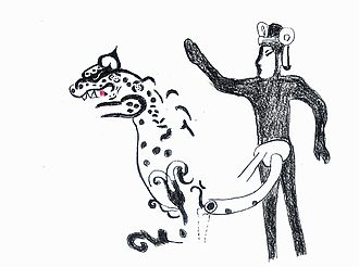 Oxtotitlán - An artist's rendition of painting 1-D, showing the outline of a ruler and rearing jaguar.