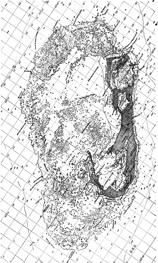 PSM V66 D399 Bermuda island chart with fathom depths and ship channel.png