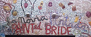 Painted Bride Art Center - Detail of the mosaic over the main entrance