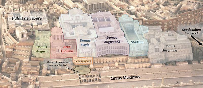 Principaux palais sur la colline du palatin à Rome. Illustration de Cassius Ahenobarbus
