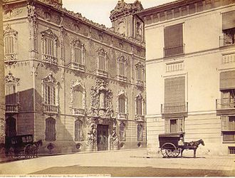 Palace of the Marqués de Dos Aguas - Palacio del Marqués de Dos Agüas, c. 1870, photographed by J. Laurent.