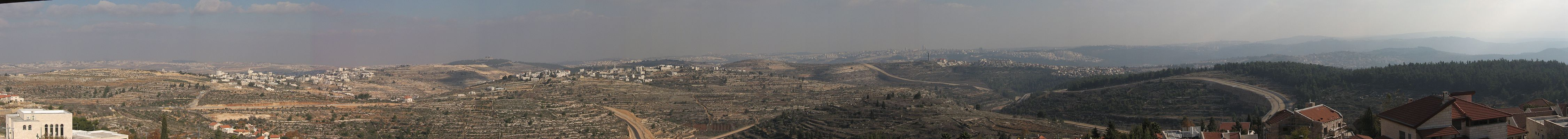 The panoramic view from the watchtower of Har Adar, Israel.