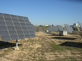 Photovoltaic power station - Bellpuig Solar Park near Lerida, Spain uses pole-mounted 2-axis trackers
