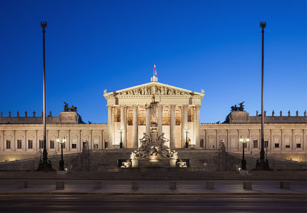Austrian Parliament building Parlament Wien abends edit.jpg