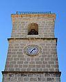 Part superior del campanar de l'església de la Nativitat de Benilloba.JPG