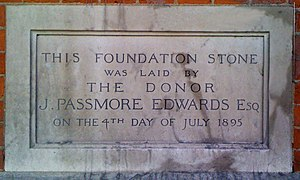 Passmore Edwards Public Library, Shepherd's Bush - Passmore Edwards Library Shepherd's Bush Foundation Stone