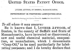 "Luther Atwood - ""Coup oil"" – Patent No. US9630A"