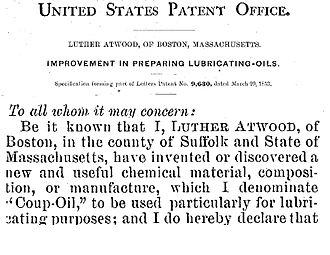 """Luther Atwood - """"Coup oil"""" – Patent No. US9630A"""