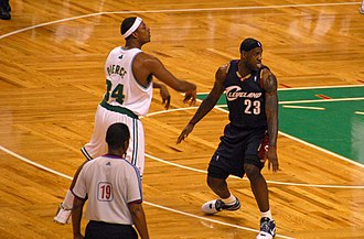 Paul Pierce - Pierce being defended by LeBron James in October 2008.