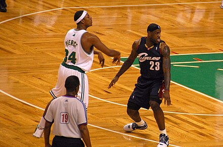 Former Celtics captain Paul Pierce being defended by LeBron James Paul Pierce LeBron James.jpg