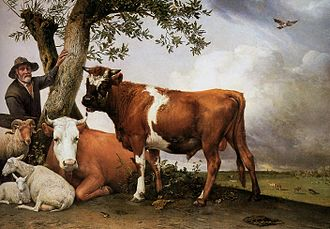 Dutch Golden Age painting - Paulus Potter, The Bull (1647); 3.4 metres wide. An unusually monumental animal painting that challenges the hierarchy of genres.