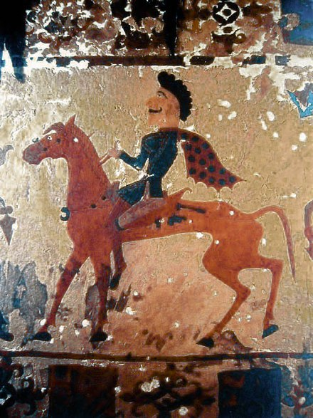 A Pazyryk horseman in a felt painting from a burial around 300 BC. The Pazyryks appear to be closely related to the Scythians. PazyrikHorseman.JPG