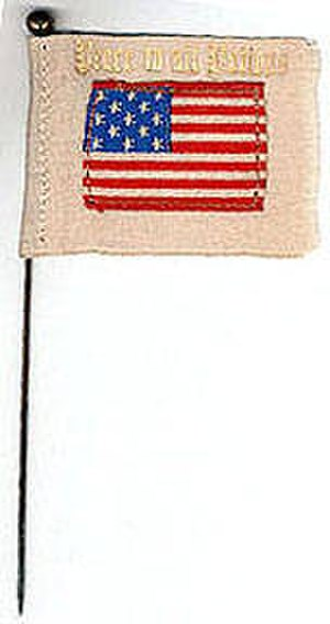 "Peace flag - White-bordered US flag. Banner reads ""Peace to All Nations""."