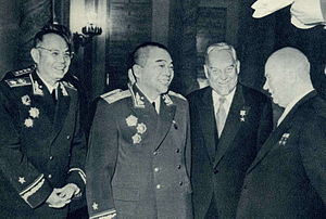 Nikolai Bulganin - Bulganin with Khrushchev, Peng Dehuai, and Ye Jianying