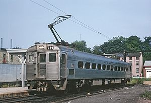 West Chester station (West Chester Railroad) - A Penn Central train at the station in 1970
