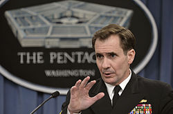 Pentagon Press Secretary Navy Rear Adm. John Kirby briefs reporters at the Pentagon, March 7, 2014, discussing a range of issues, including testimony by defense officials on the fiscal year 2015 budget request 140307-D-NI589-187.jpg