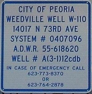 Ora Rush Weed - Image: Peoria Weedville Weedville Well sign