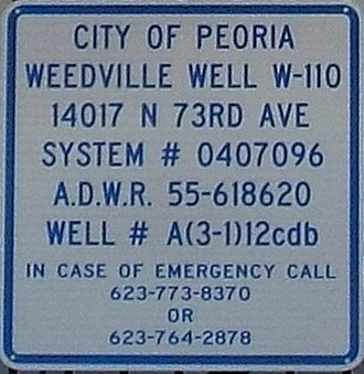 Ora Rush Weed - Image: Peoria Weedville Weedville Well sign