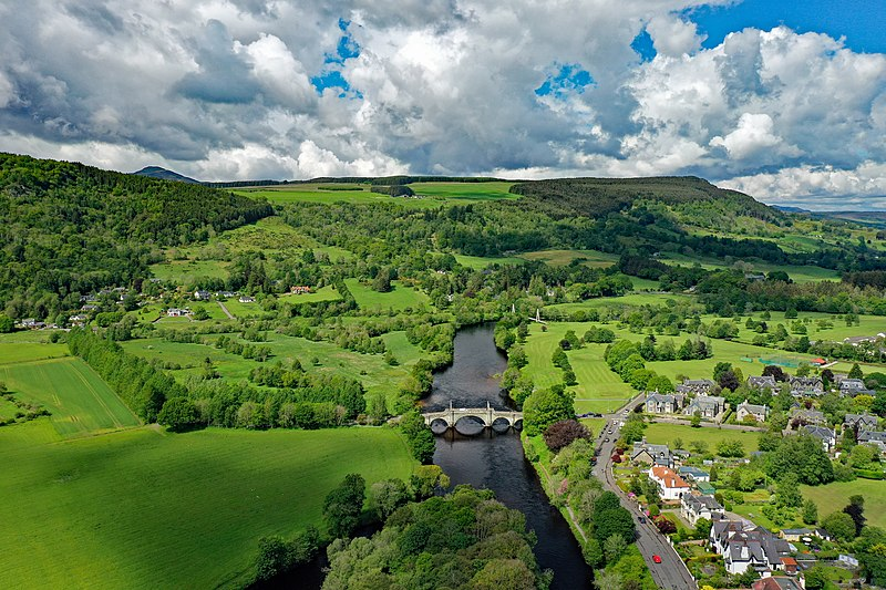 Aberfeldy Bridge (aerial view, Perth & Kinross, Scotland, UK)