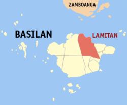 Map of Basilan showing the location of Lamitan.