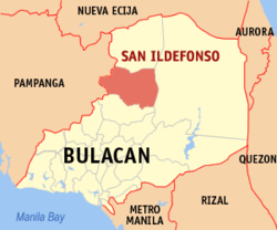 Map of Bulacan showing the location of San Ildefonso