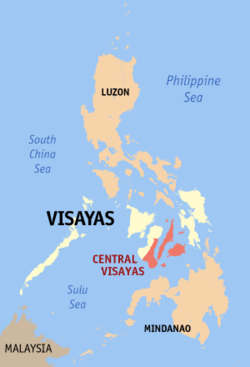 Map of the Philippines showing the location of Region VII