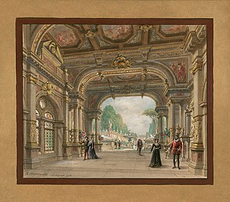 Les Huguenots - Set design by Philippe Chaperon for Act 1 of the 1897 production at the Palais Garnier