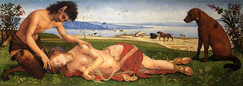 Сатир і пес Лелап на картині П'єро ді Козімо «Смерть Прокріди»
