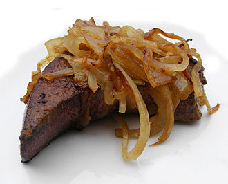 Liver (food) - Slice of pig's liver and onions