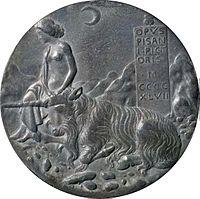 Cecilia Gonzaga medal: Innocence and Unicorn in Moonlit Landscape (1447)