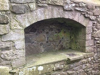 Inch Abbey - Piscina in the South wall of the chancel at Inch Abbey, Downpatrick