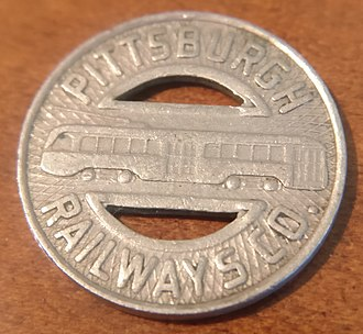 Pittsburgh Railways - 1930s Era Pittsburgh Railways Token Fare - Front Side