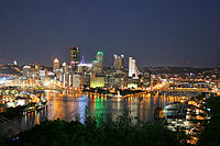 The skyline of Pittsburgh, second largest city in Pennsylvania and 21st largest metropolitan area in the United States.