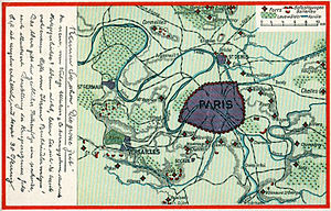 Fortifications of Paris in the 19th and 20th centuries - German post card prior to the 1914-1918 war, showing the defenses of Paris