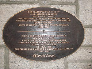 Killarney - Plaque commemorating the coming of the Railway to Killarney