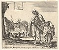 Plate 1- a man sings and plays the hurdy gurdy, accompanied by a boy playing the triangle to right, a group of peasants dancing in a ring to left in background, title page for 'Diversi capricci' MET DP833172.jpg