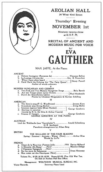 Éva Gauthier - The playbill from Recital of Ancient and Modern Music for Voice