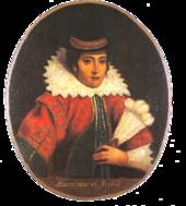 Dipinto basato sull'incisione di van de Passe, ma con tratti europei