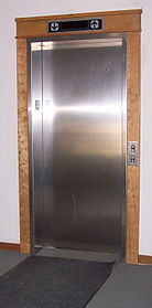 A typical elevator style found in many modern residential and small commercial buildings.