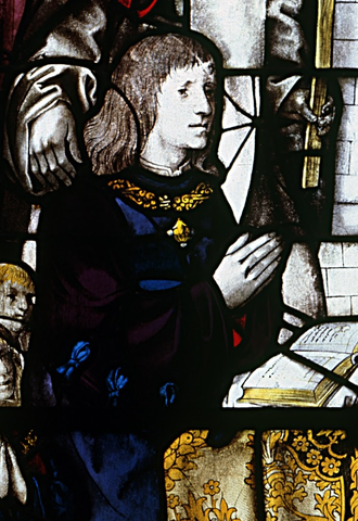Manuel I of Portugal - Contemporary depiction on a stained-glass window at Batalha Monastery (attributed to Francisco Henriques)