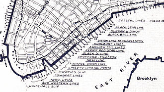 Black Ball Line (trans-Atlantic packet) - Map of the Port of New York on the south tip of Manhattan Island in 1851. Heavy broken line marks the waterfront below City Hall park in 1784. Area filled in prior to 1820. The docks of the Black Ball Line are in the upper part of the figure.