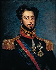 Half-length painted portrait of a brown-haired man with mustache and beard, wearing a uniform with gold epaulettes and the Order of the Golden Fleece on a red ribbon around his neck and a striped sash of office across his chest