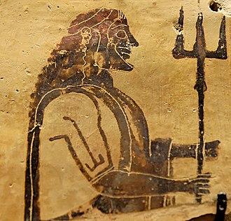 Trident of Poseidon - Poseidon with his trident, Corinthian plaque, 550–525 BC