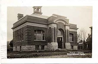 Brampton Library - Carnegie Building serving as the Brampton Public Library, 1909. Postcard from the Richard L. Frost collection.